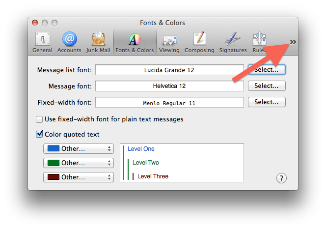 Apple Mail – Setting the default font