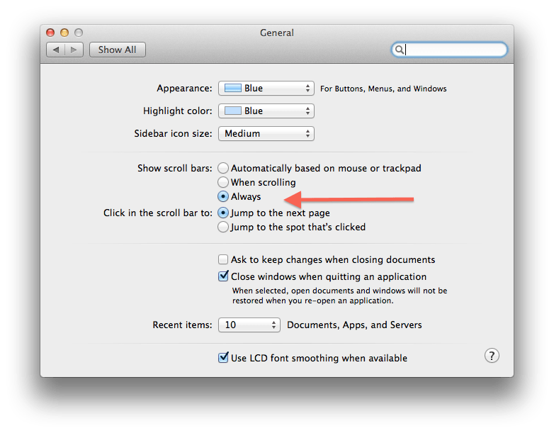 Dear Mavericks, where are my scroll bars?